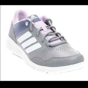 NWT Adidas Light Gray Leather Purple Sneakers